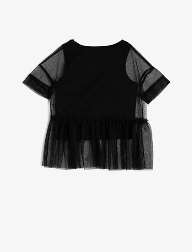 Koton Kids Tül Detayli T-Shirt Siyah